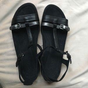 ECCO Black Leather Sandal with Metallic Strip